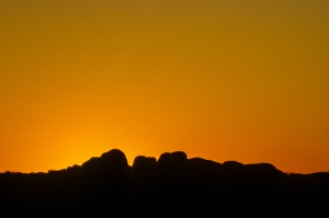Sunset behind The Olgas